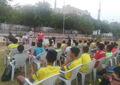 Sports Injury Prevention and Treatment lecture by Dr. Keyur Buch MS(Ortho) MChOrth(UK) FRCS(Edinburgh) FRCS(Tr & Orth), Consultant Orthopedic Joint Replacement and Arthroscopy Surgeon with Kahani Sports academy at KASA Football Ground held on 18th May, 2018